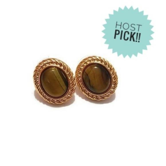 Roman Jewelry - Tigers Eye Gold Tone Women's Stud Earrings
